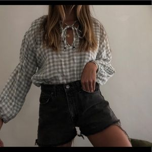 Plaid long sleeve blouse